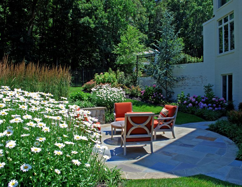 Small Patio, Stone Patio, Teak Furniture Botanical Decorators Olney, MD