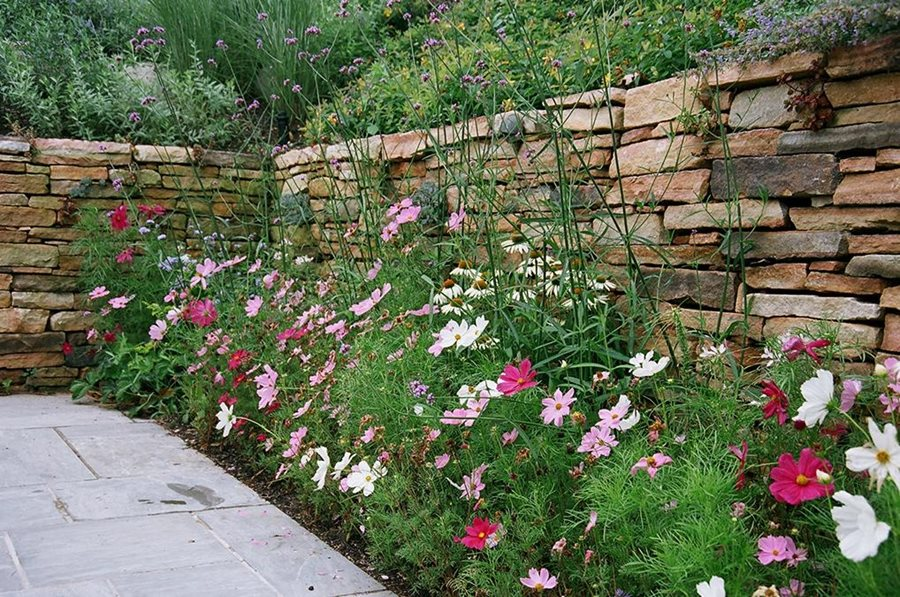Stacked Stone Pink Flowers White Barry Block Landscape Design Contracting East Moriches