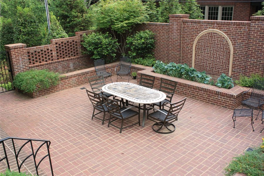 Brick Patio Wall Designs pattern bluestone patio and sitting bench cap The Penland Studio Knoxville Tn