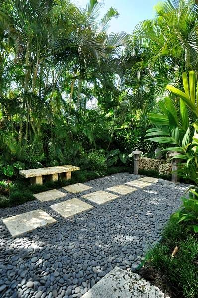 Courtyard, Bench, Asian, Lantern Small Yard Landscaping Craig Reynolds  Landscape Architecture Key West