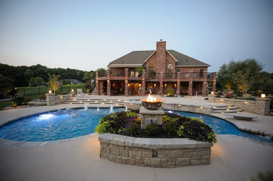 Swimming pool design ideas landscaping network for Fancy swimming pool designs