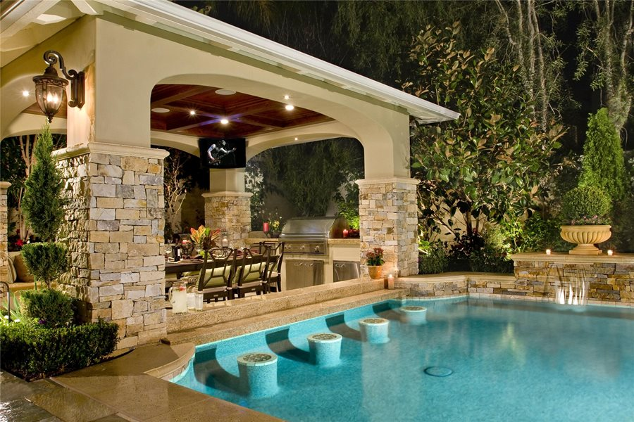 Backyard cabana design landscaping network for Poolside kitchen designs