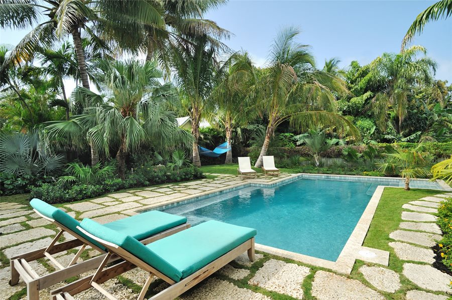 tropical pool chaise lounges palms green swimming pool craig reynolds landscape architecture