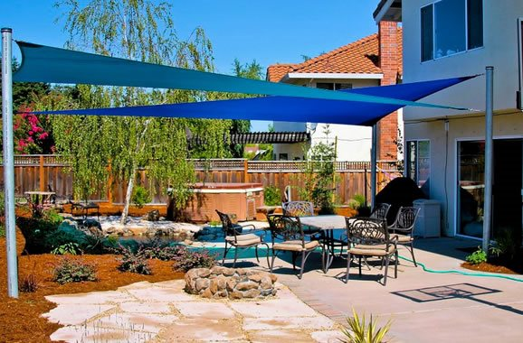 Blue Shade Sails Walkway And Path Landplan S Landscaping Pleasanton