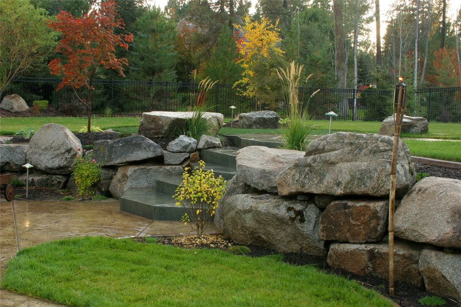 Boulder Landscape Wall Walkway and Path Copper Creek Landscaping, Inc.  Mead, WA - Dry Stacked Stone Walls - Landscaping Network