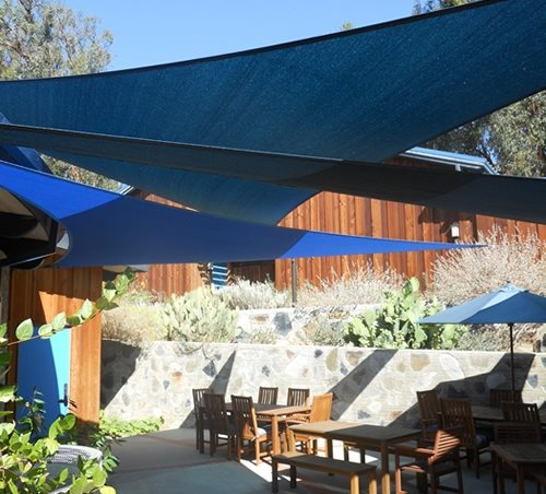 Walkway And Path Landscaping Network Calimesa, CA. Overlapping Shade Sails  ...