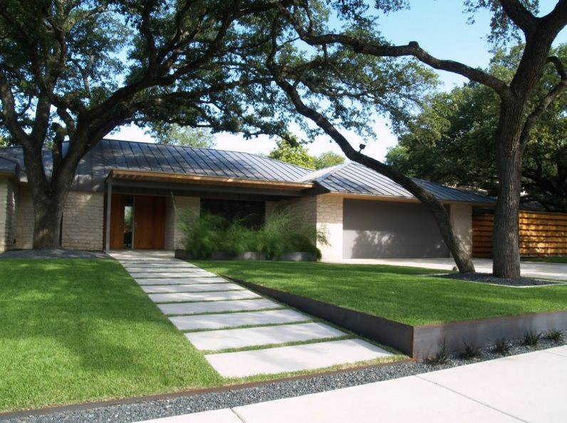 Modern Front Yard Walkway And Path Austin Outdoor Design Tx