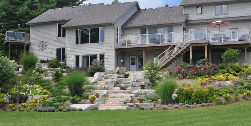 Hillside Plantings, Stone Steps, Boulders Canada Landscaping Renaissance Landscape Group Inc Puslinch, ON