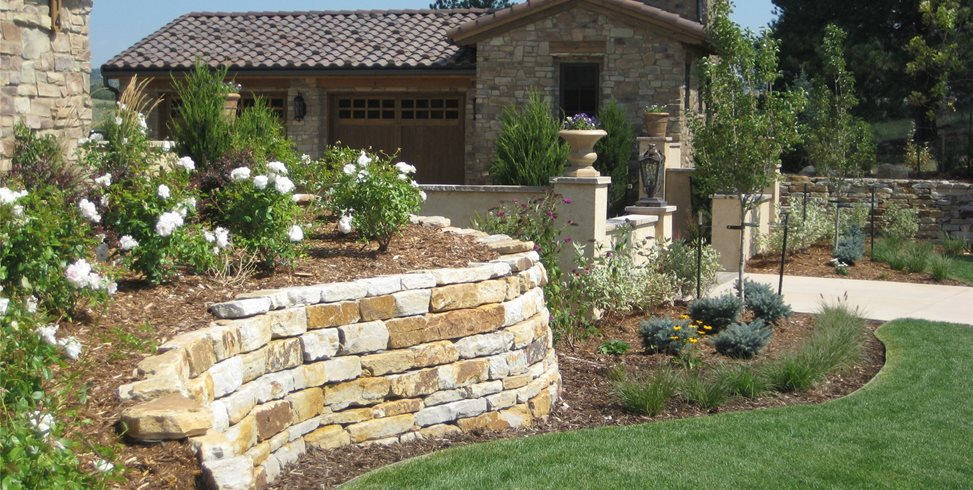 Silioam Stone Retaining Walls Garden Design Accent Landscapes Colorado Springs, CO
