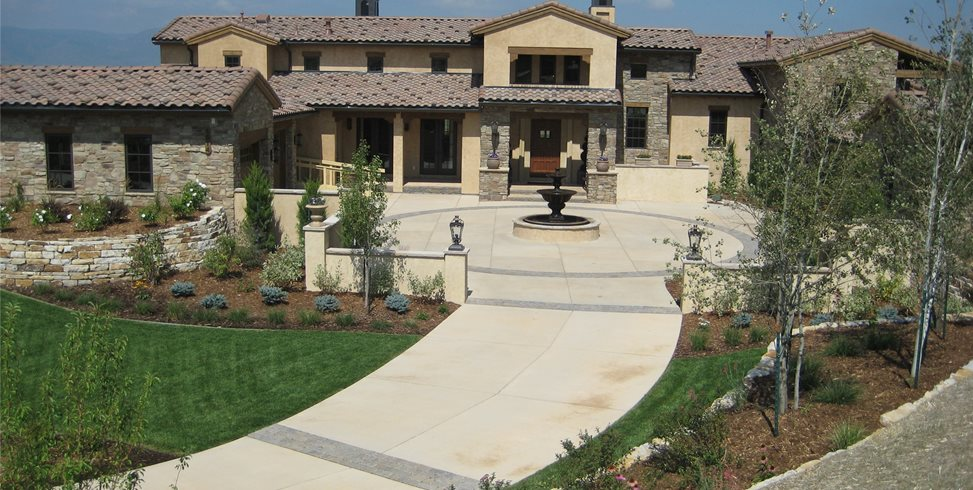 Front Motor Court Outdoor Fireplace Accent Landscapes Colorado Springs, CO