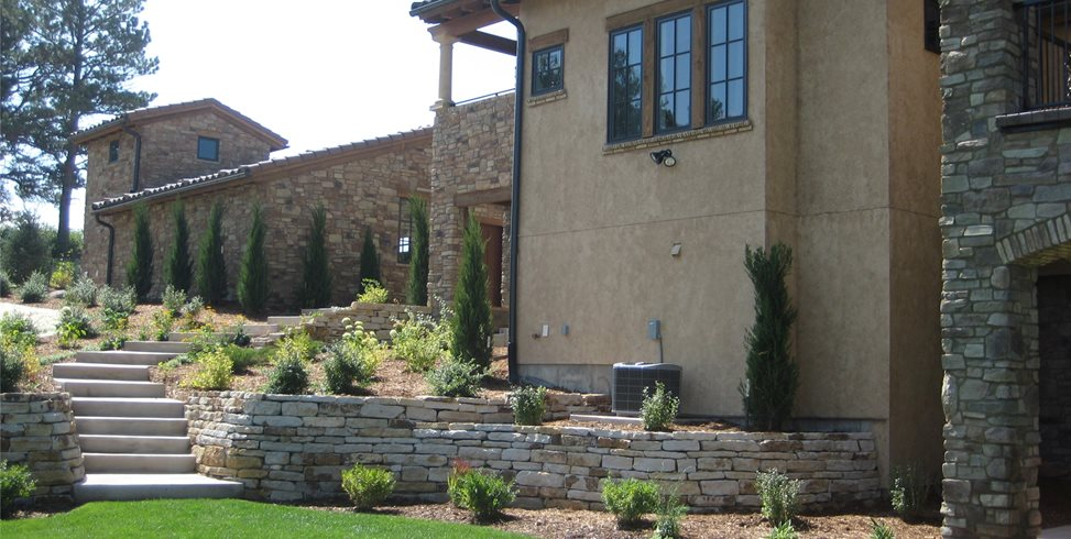 Tuscan, Backyard, Stone, Walls Patio Accent Landscapes Colorado Springs, CO