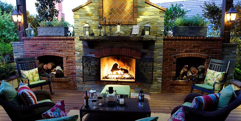Fireplace Flanked By Woodboxes Lifescape Designs Simi Valley, CA