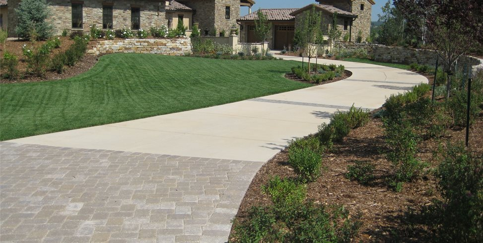Long Driveway, Concrete Driveway Swimming Pool Accent Landscapes Colorado Springs, CO