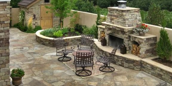 Flagstone, Patio, Fireplace Fire Pit Accent Landscapes Colorado Springs, CO