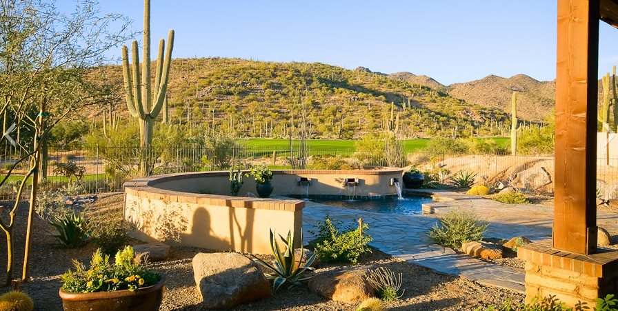 Xeriscape Water Feature Arizona Landscaping Boxhill Landscape Design Tucson, AZ
