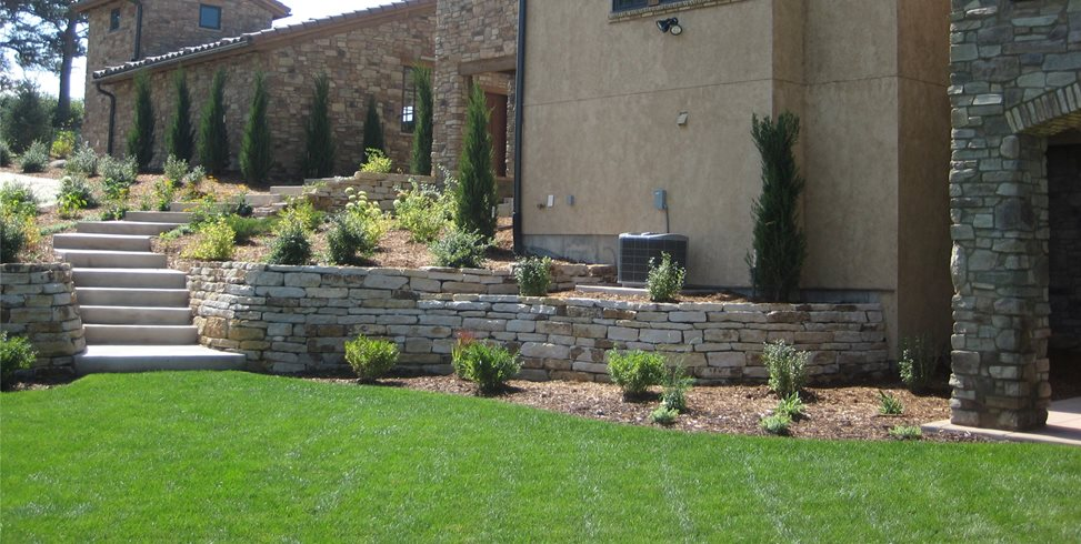 Tuscan, Backyard, Stone, Walls Bell Aqui Before Accent Landscapes Colorado Springs, CO