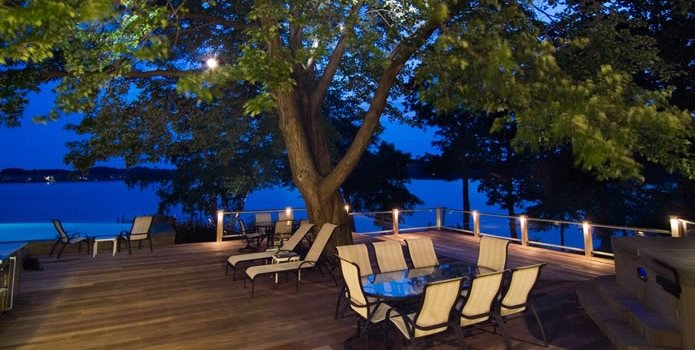 Large Deck, Deck Lighting Walnut Hill Landscape Company Annapolis, MD