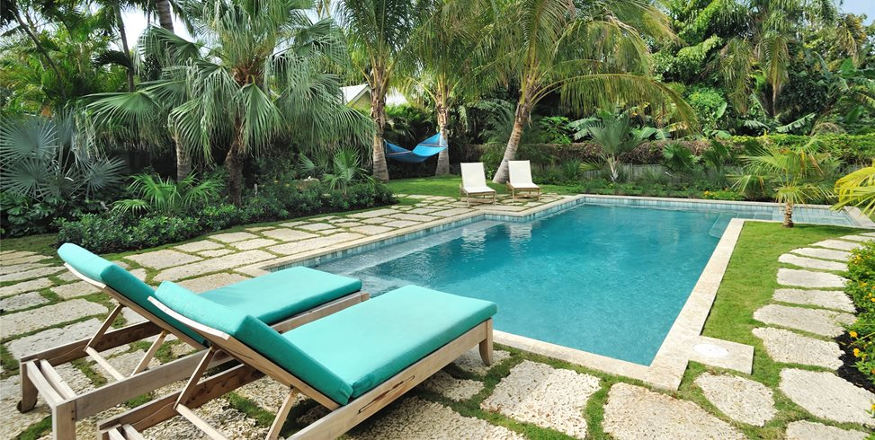 Tropical, Pool, Chaise Lounges, Palms, Green Craig Reynolds Landscape Architecture Key West, FL