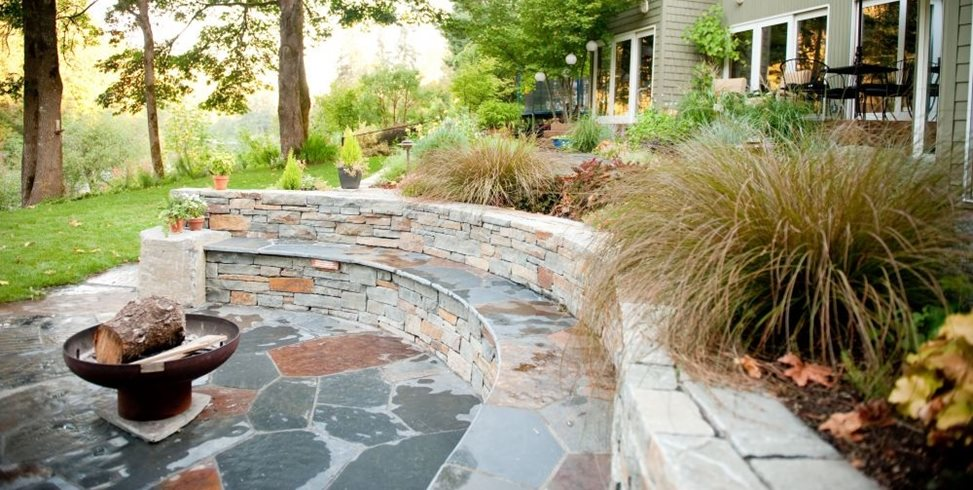 Woodland, Rustic, Grasses, Fire Pit, Seat Walls Gregg and Ellis Landscape Designs Portland, OR