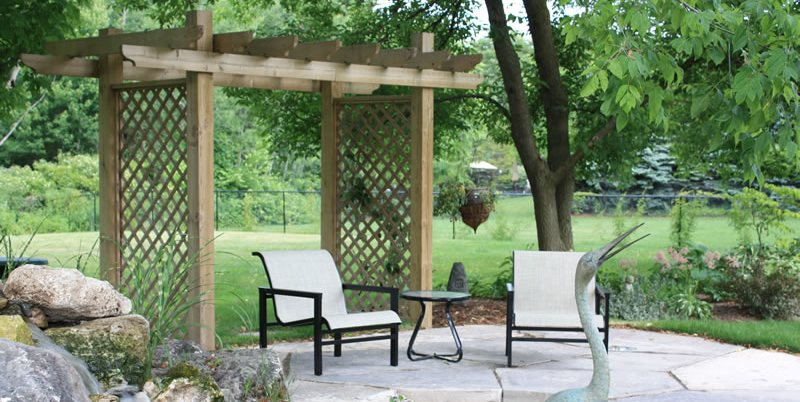 Small Lattice Pergola, Pond Patio Canada Landscaping LADS-Landview Architectural Design Sequences Burlington, ON
