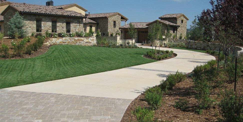 Long Driveway, Concrete Driveway Concrete Driveway Accent Landscapes Colorado Springs, CO