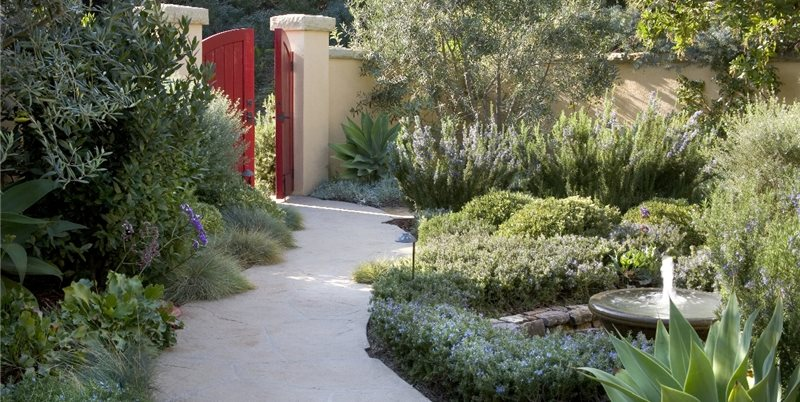 Red Garden Gate Concrete Walkway ALIDA ALDRICH LANDSCAPE DESIGN Santa Barbara, CA