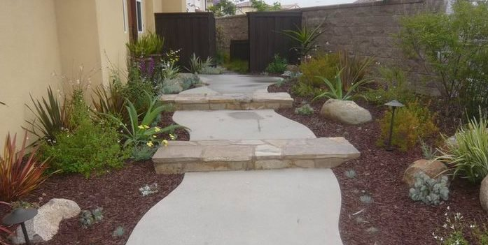Walkway, Steps, Concrete, Stone Concrete Walkway Quality Living Landscape San Marcos, CA