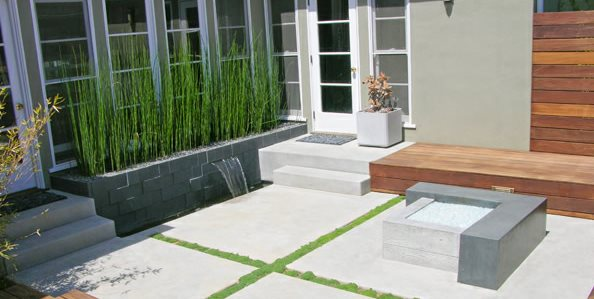 Modern, Concrete, Patio, Fire Feature Driveway DC West Construction Inc. Carlsbad, CA