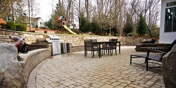 Paver Patio, Tan Pavers, Herringbone Fire Pit StoneScapes Design Hanover, MD