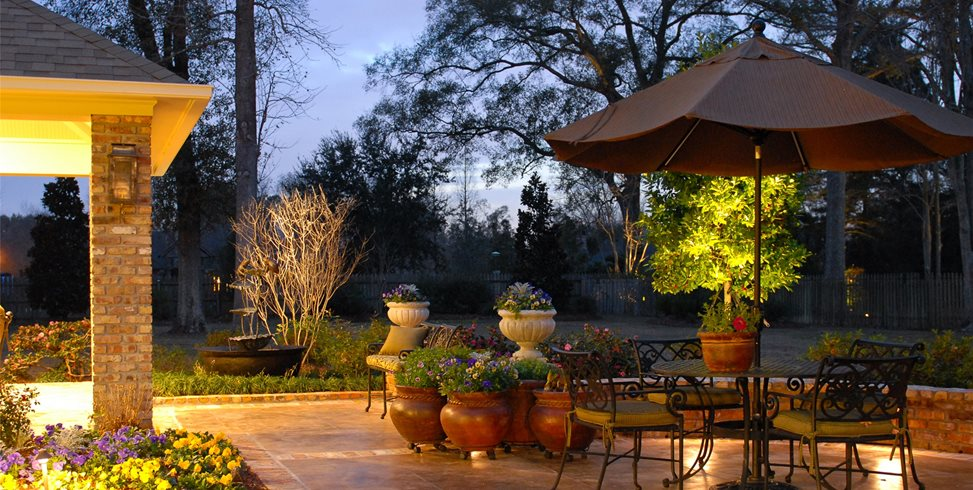 Patio Lighting Mediterranean Landscaping Angelo's Lawn-Scape Of Louisiana Inc Baton Rouge, LA