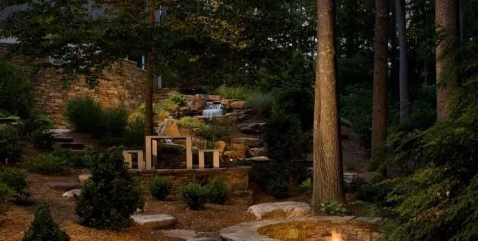 Woodland Garden Pond and Waterfall J'Nell Bryson Landscape Architecture Charlotte, NC