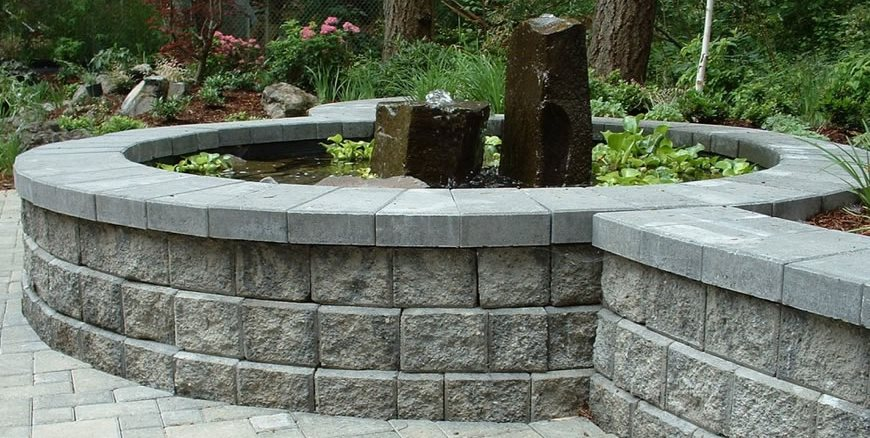 Block Wall, Gray, Water Feature, Pond Woody's Custom Landscaping Inc Battle Ground, WA