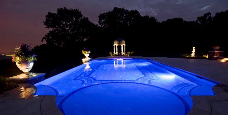 Classical Swimming Pool, Fiber Optics Cipriano Landscape Design Mahwah, NJ