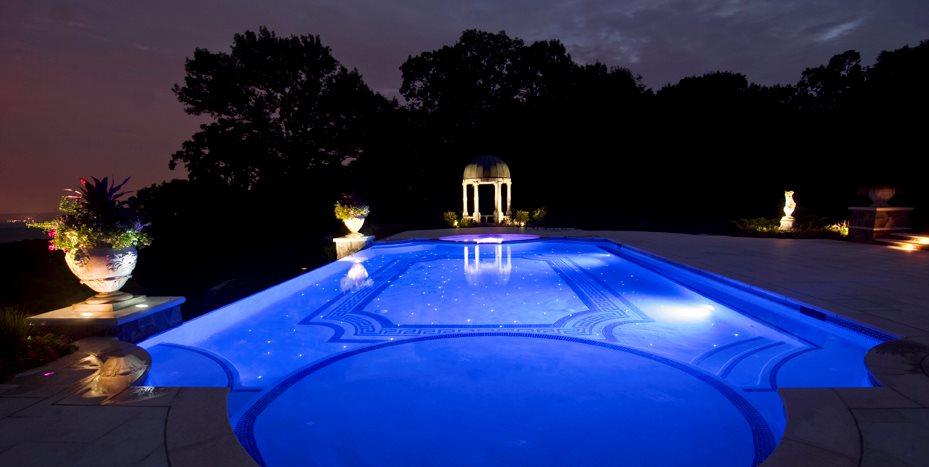 Classical Swimming Pool, Fiber Optics Cipriano Landscape Design Mahwah, NJ