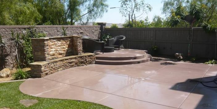 Concrete Patio Design Ideas concrete patio ideas for small backyards stamped concrete patio concrete patio designsstamped concrete patiospergola patios pool Colored Concrete Quality Living Landscape San Marcos Ca