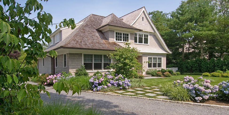 Front Yard Landscaping With Hydrangeas Barry Block Landscape Design & Contracting East Moriches, NY
