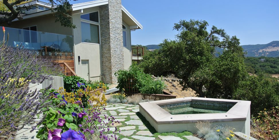 Hillside Spa, Pentagon Spa Shades of Green Landscape Architecture Sausalito, CA