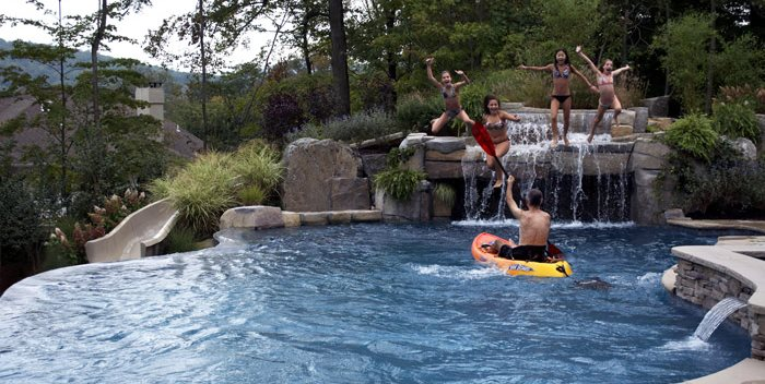 Inground Swimming Pool, Pool Waterfall Cipriano Landscape Design Mahwah, NJ