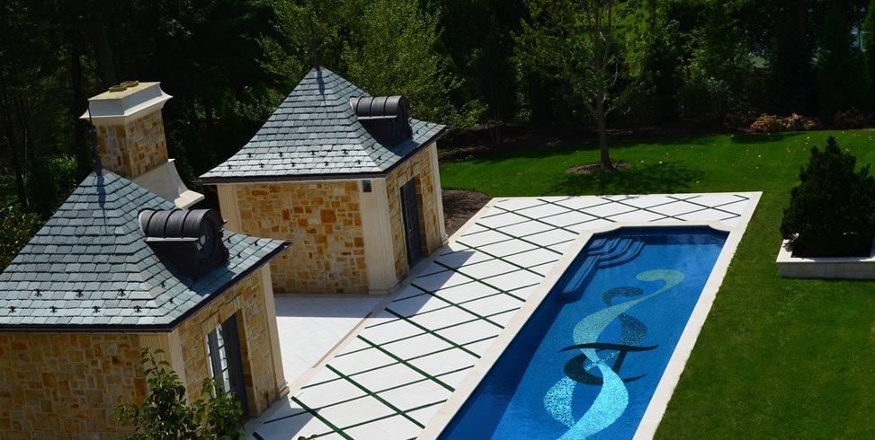 Lap Pool, Mosaic Tile Design Cipriano Landscape Design Mahwah, NJ