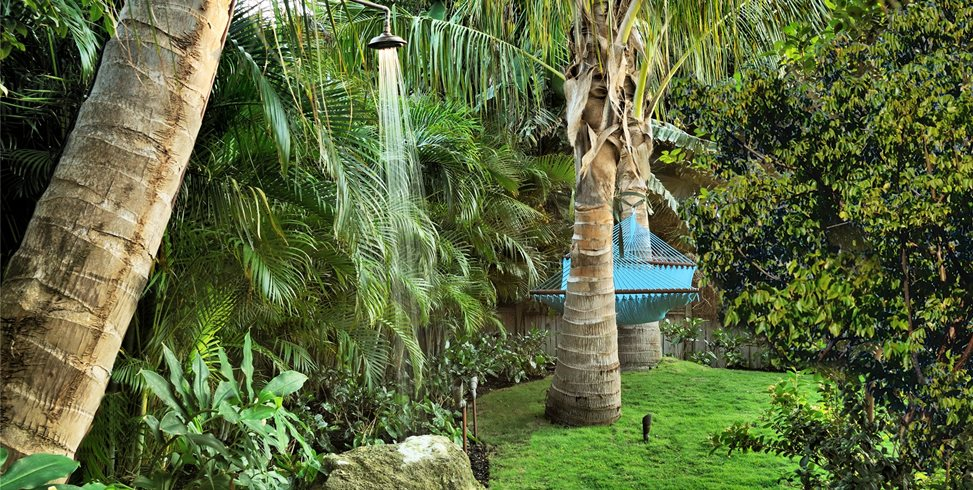 Palm Tree, Outdoor Shower, Copper, Rain Head Craig Reynolds Landscape Architecture Key West, FL