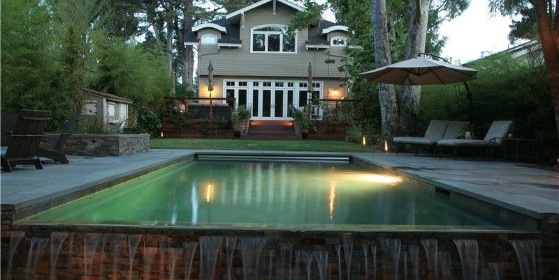 Pool Lighting Shades of Green Landscape Architecture Sausalito, CA