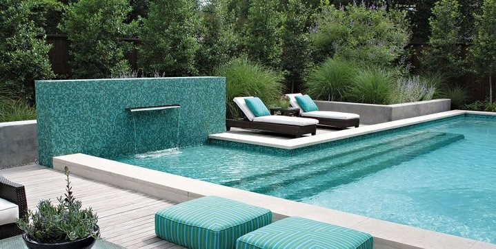 pool water feature bonick landscaping dallas tx - Swimming Pool Tile Designs