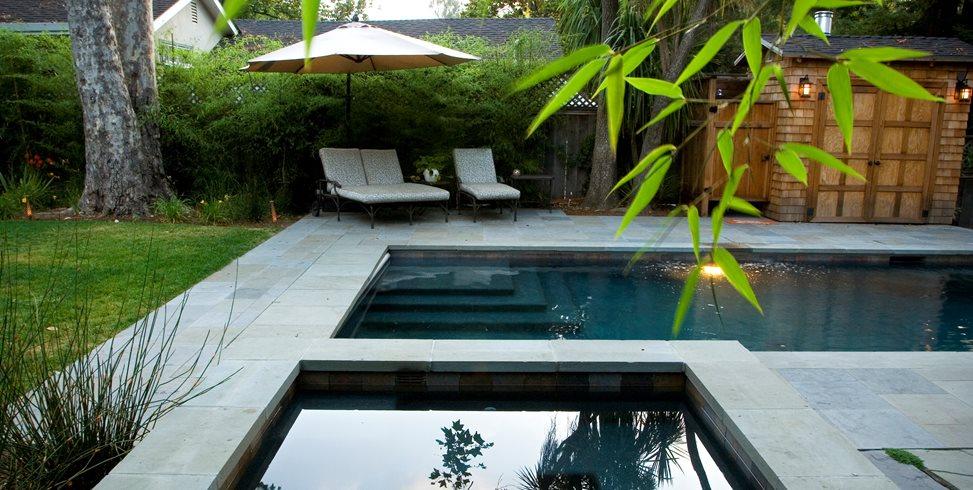Rectangular Pool, Square Spa Shades of Green Landscape Architecture Sausalito, CA