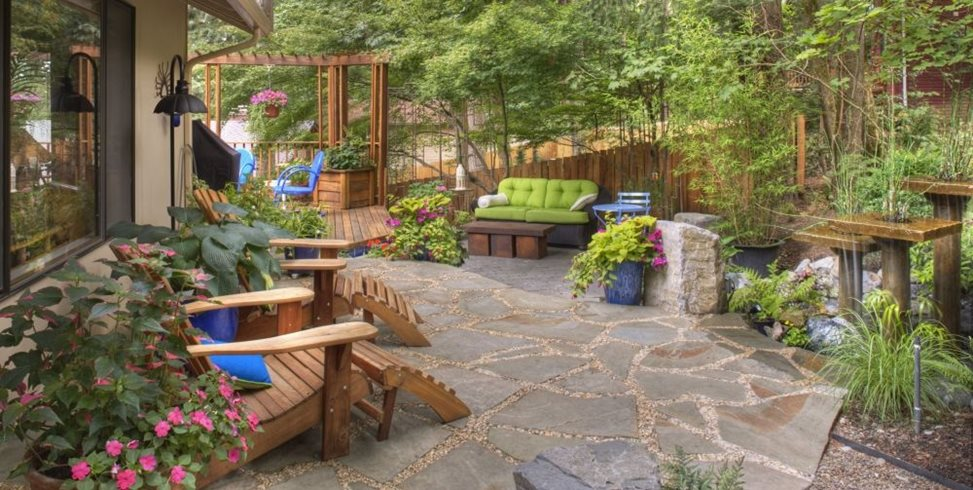 Rustic Garden, Container Plantings, Garden Decor, Adirondack Chairs, Flagstone, Water Feature Gregg and Ellis Landscape Designs Portland, OR