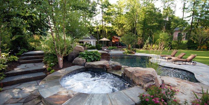 Spa Stone Coping, Dark Bottom Spa Cipriano Landscape Design Mahwah, NJ