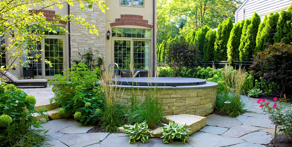 Stone Spa Surround Romani Landscape Architecture Glencoe, IL