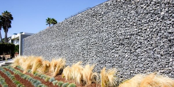 Tall Gabion, Gabion Wall Grounded Landscape Architecture and Planning Encinitas, CA