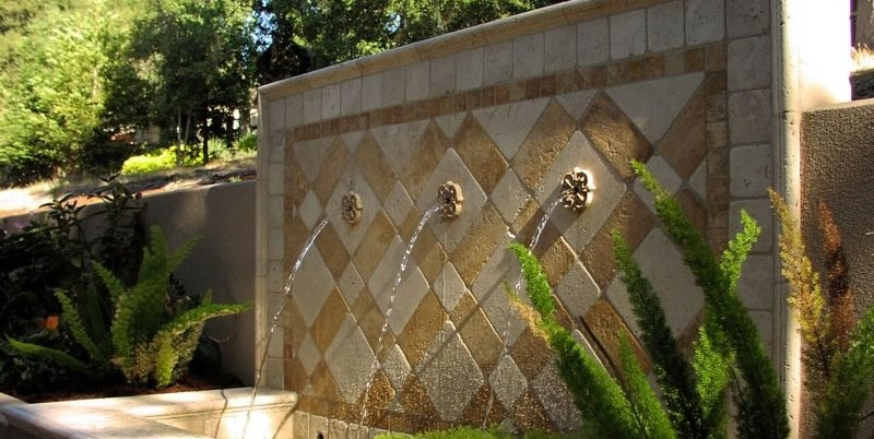 Three Spout Fountain Michelle Derviss Landscape Design Novato, CA