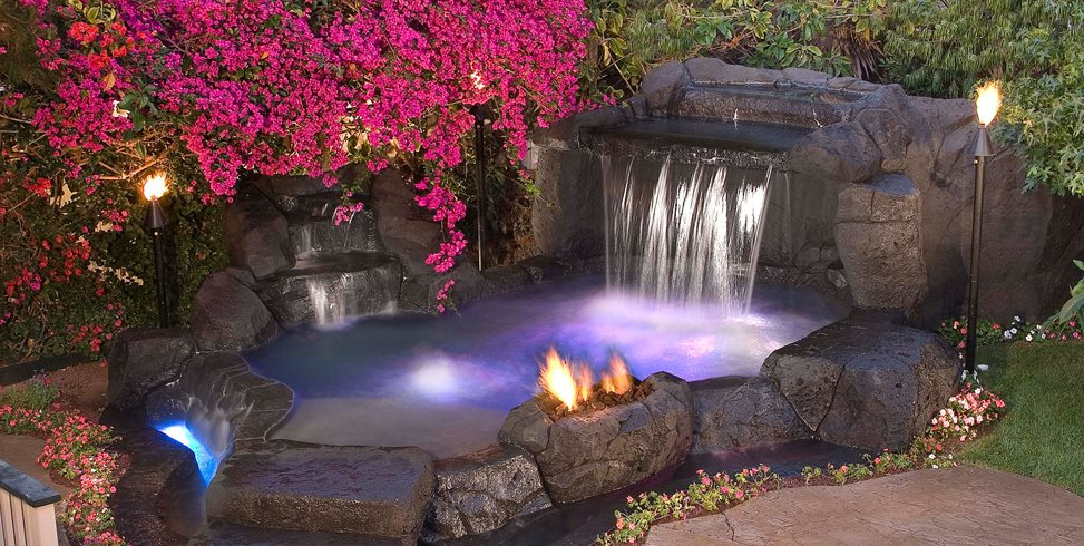 Tropical Spa, Waterfall Alderete Pools Inc. San Clemente, CA