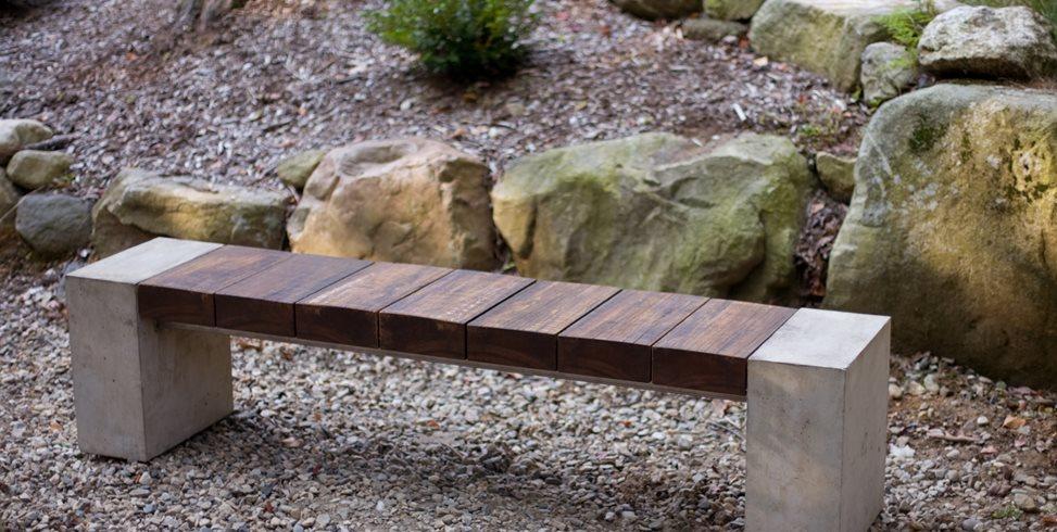 Wood Bench, Concrete Bench Douglas Thayer Design Westhampton, MA